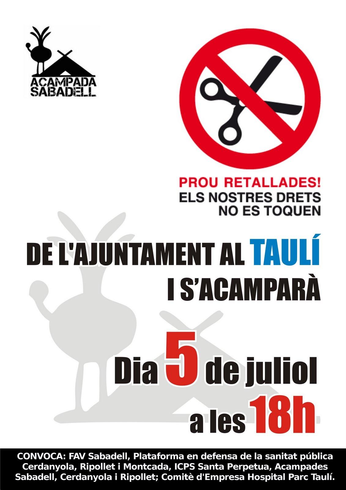 Manifestació dimarts 5 contra les retallades a la Sanitat