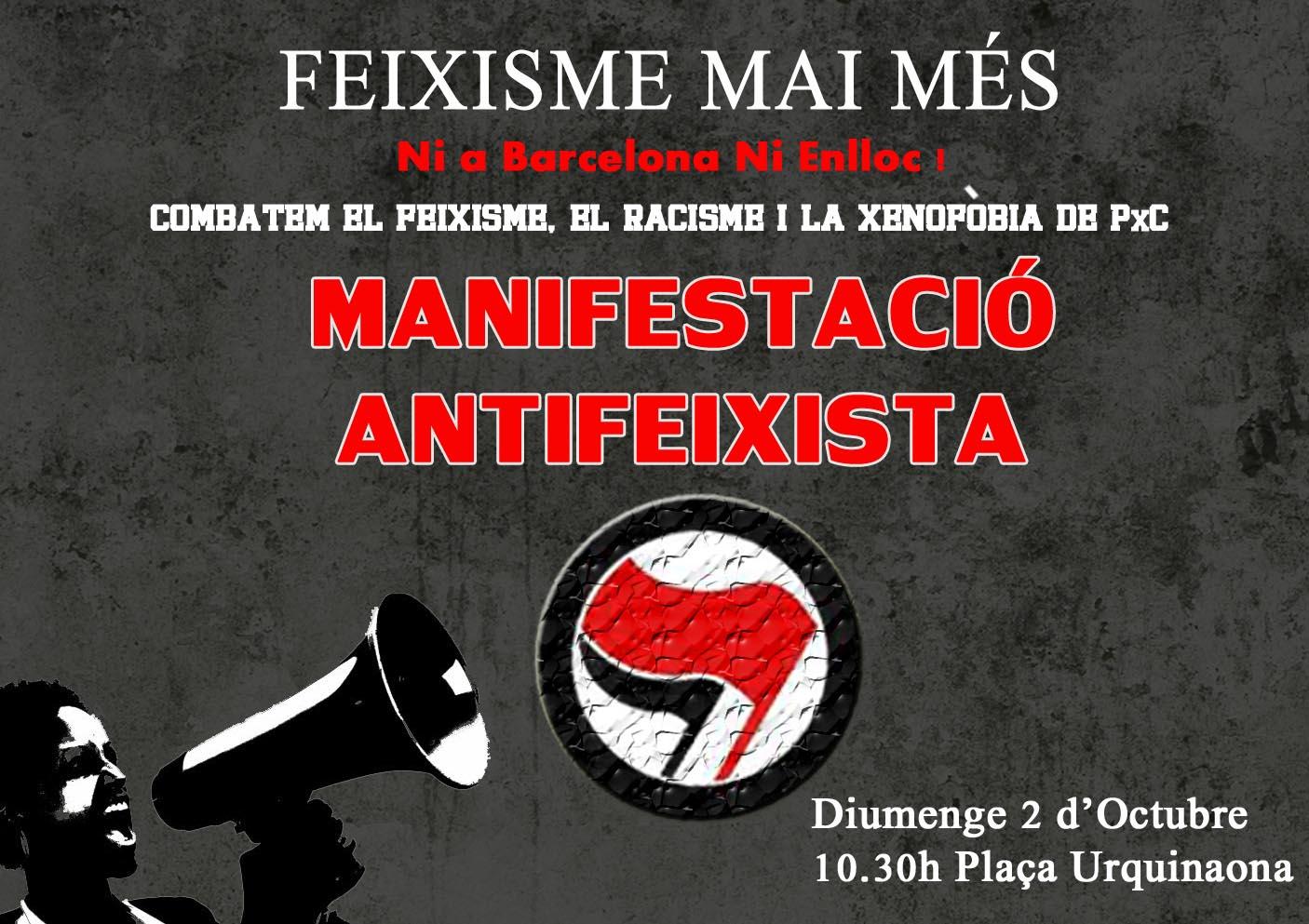 Manifestació Antifeixista aquest diumenge 2-Oct ( Aturem PxC )