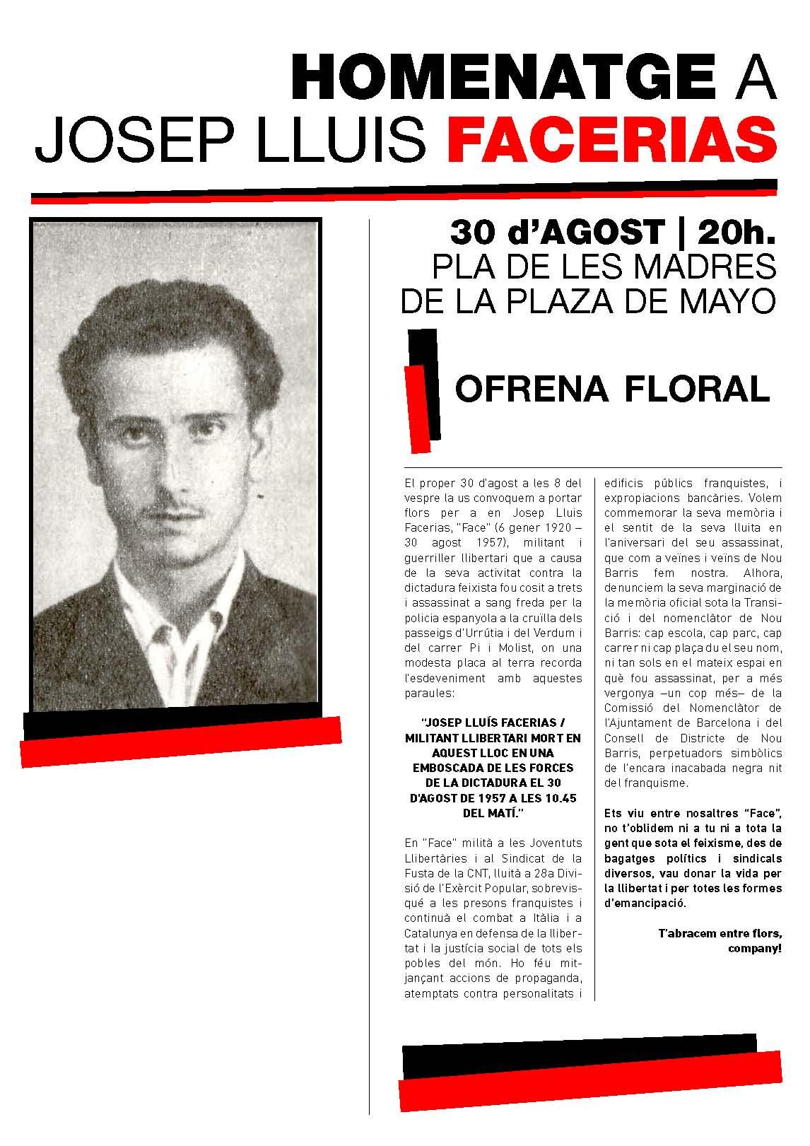 Barcelona 30 d'agost, homenatge a Josep Lluis Facerias