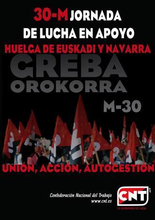30-M Convocatòries de la jornada de suport a la Vaga d'Euskadi i Navarra