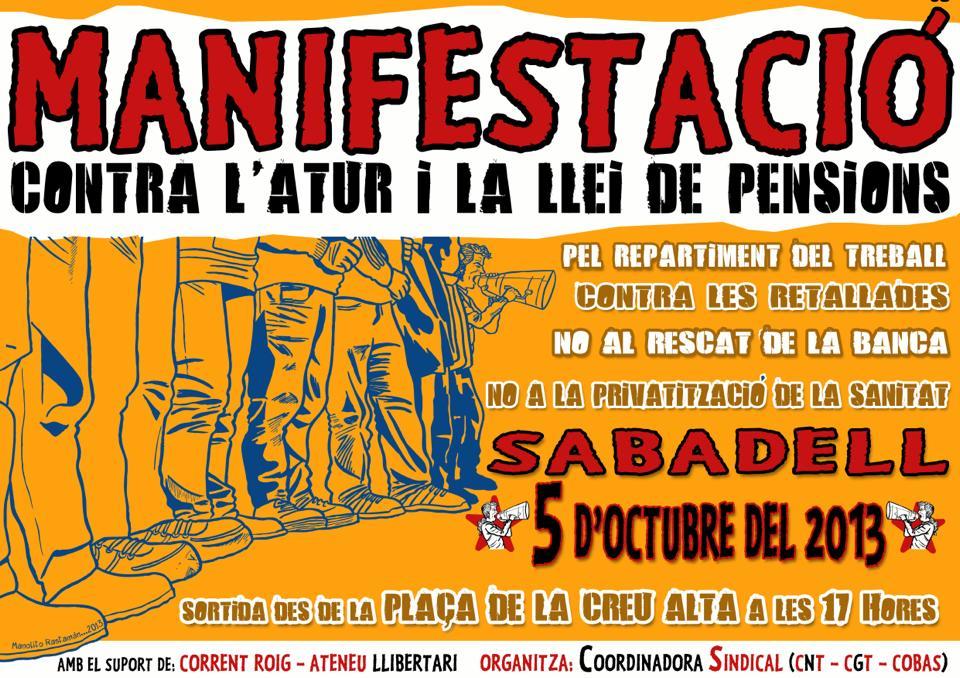 [Sabadell, dissabte 5 d'octubre] Manifestació contra l'atur i la llei de pensions