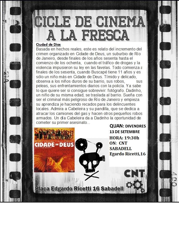 """Divendres 13-S a les 19:30h: Passi de la pel·lícula """"Ciudad de Dios"""""""