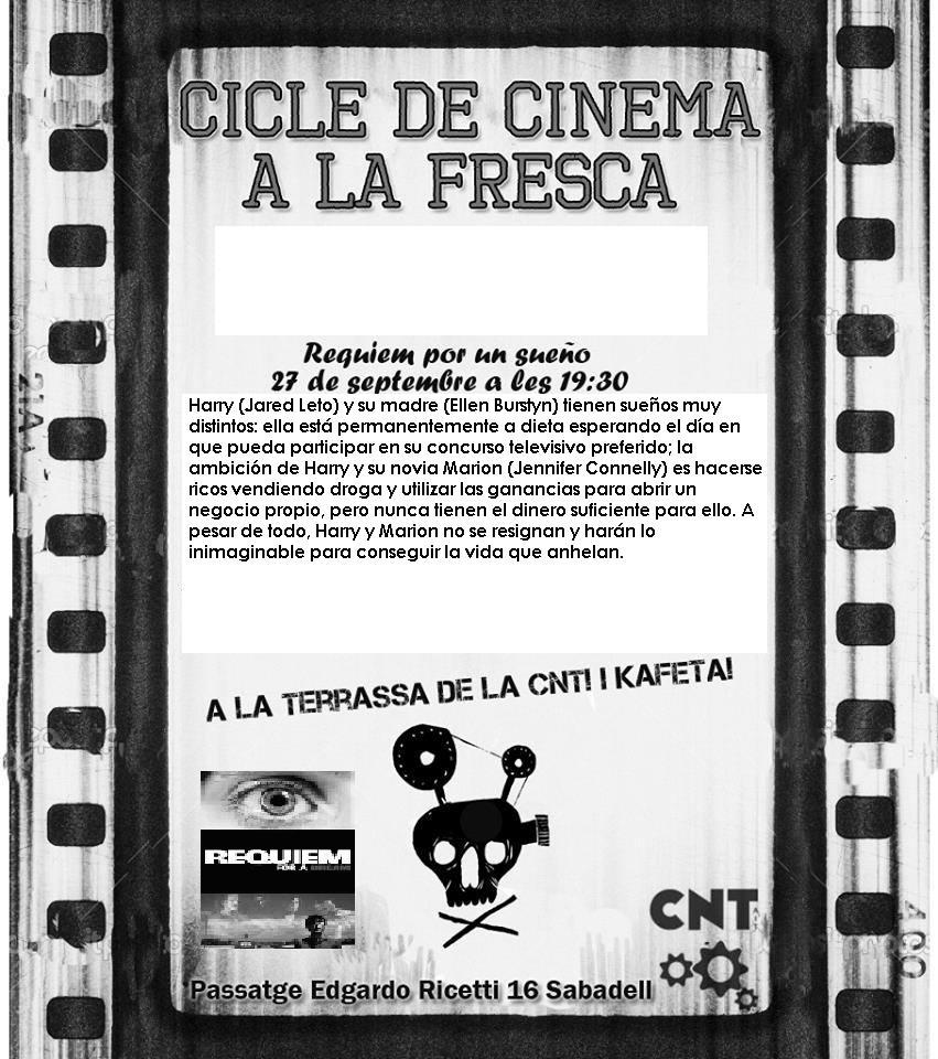 """Divendres 27-S a les 19:30h: Passi de la pel·lícula """"Requiem por un sueño"""""""
