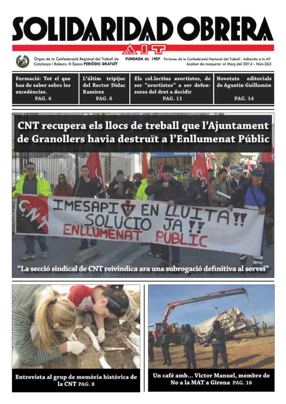 """Nou número del diari """"Solidaridad Obrera""""."""