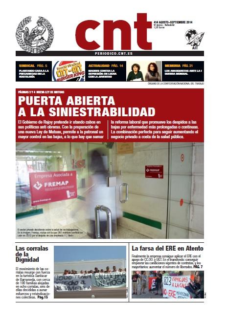 Periódico CNT nº 414. Agosto-septiembre 2014