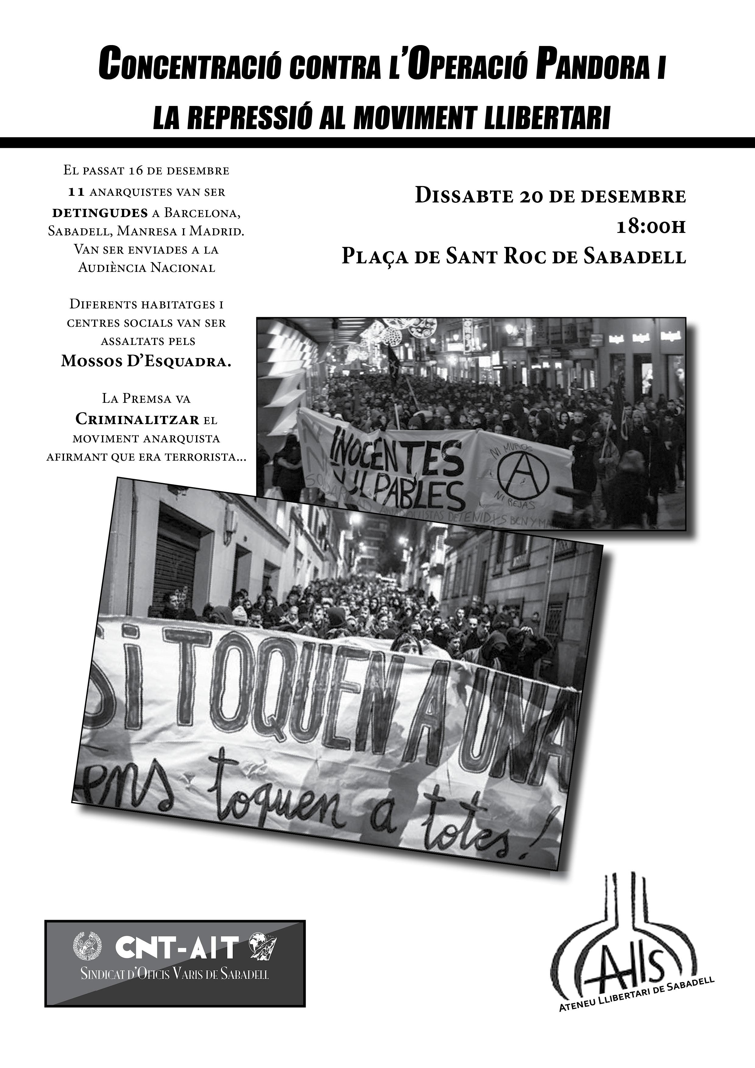 [Sabadell] Concentració contra l'operació Pandora i la repressió al moviment llibertari