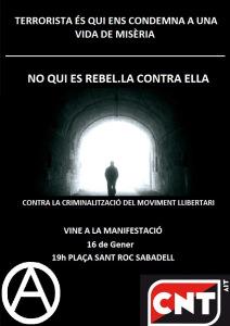 No és terrorisme, és lluita de classes [comunicat llegit al final de la mani pels anarquistes presxs -Sabadell, 16/01/15-]