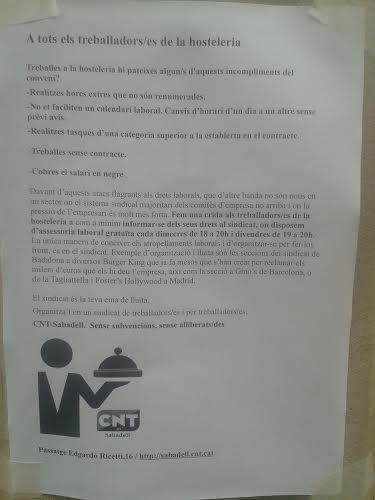 I TU, TREBALLADOR/A DE L'HOSTALERIA, NO T'ORGANITZES?