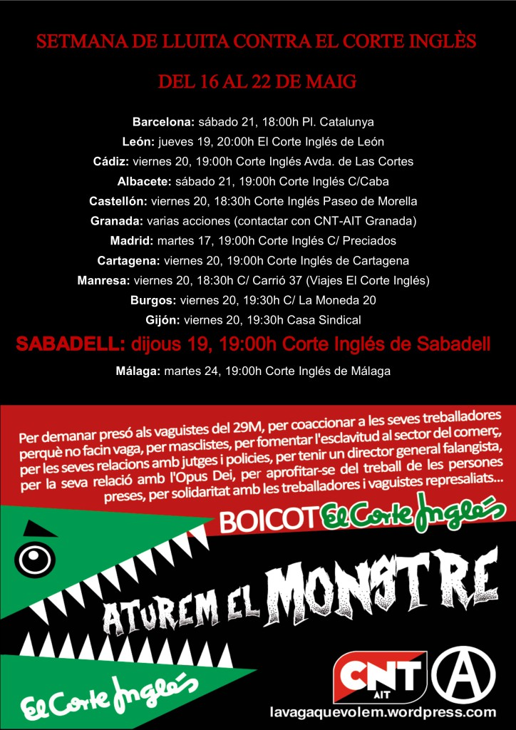 La CNT Sabadell es solidaritza amb la campanya de #BoicotElCorteIngles.