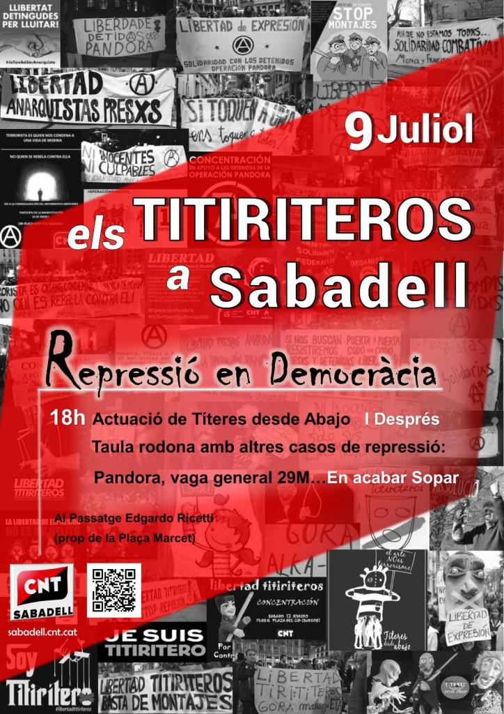El 9 de Juliol a les 18h actuació dels Titiriteros a Sabadell.