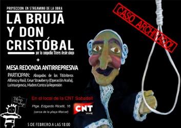 """Representación de """"La bruja y Don Cristóbal"""" en Streaming en Sabadell."""