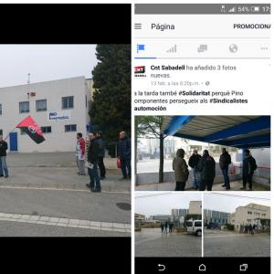 Fotografias de los repartos de octavillas el 13 de Febrero en Polinya y el 17 en Borges Blanques.