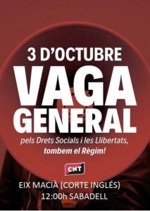 Manifest vaga general del 3 d'Octubre a Sabadell