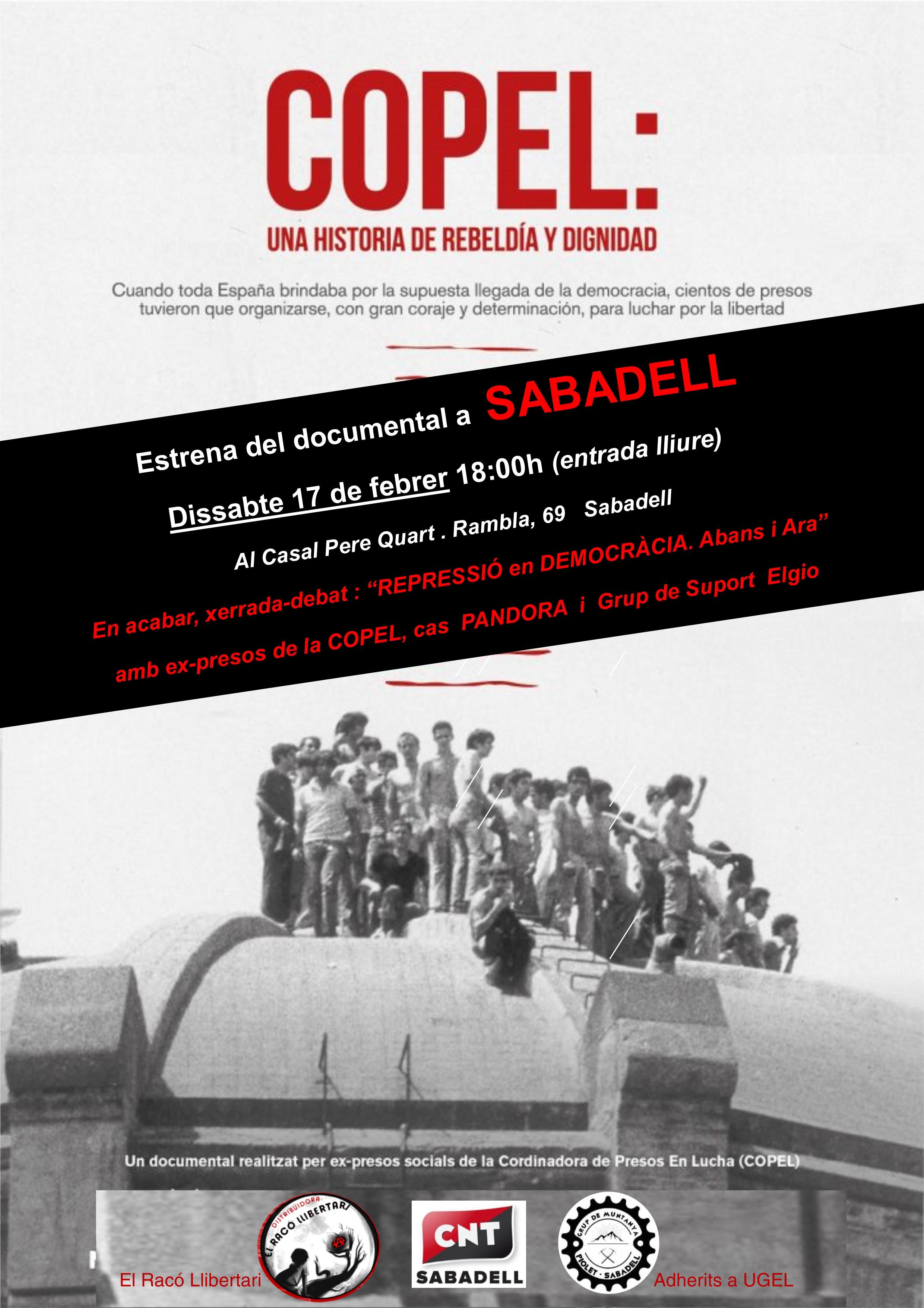 """17 de Febrero: Estreno del Documental """"COPEL"""" en Sabadell + Charla-Debate """"Represión en Democracia, antes y ahora"""""""""""
